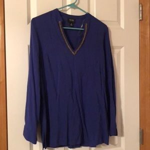 Royal blue blouse with gold beading